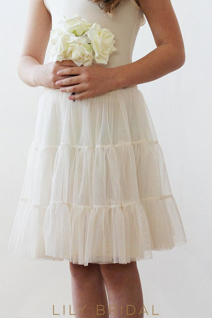 Spaghetti Strap Knee-Length Tulle Flower Girl Dress