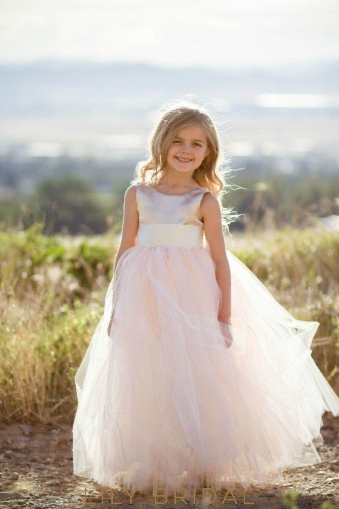 Blush Pink Satin Top Floor-Length Ball-Gown Flower Girl Dress With Sash