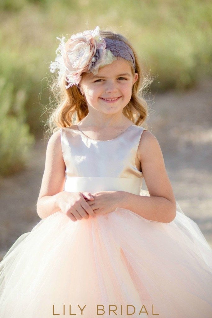 Blush Pink Satin Top Floor-Length Ball-Gown Tulle Flower Girl Dress With Sash