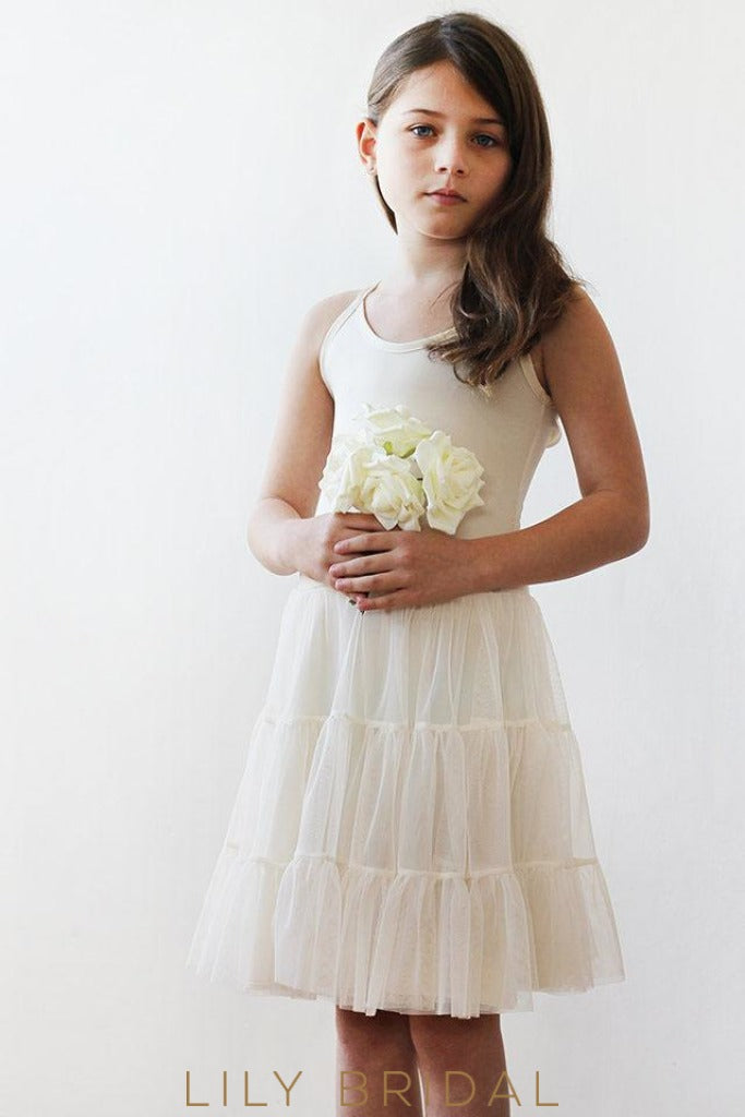 Blush Tulle A-Line Sleeveless Flower Girl Dresses