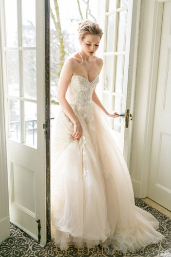 blush tulle a line wedding gown