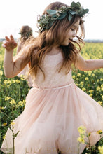 Bubblegum Tulle Tea Length Scoop Sleeveless A-Line Flower Girl Dresses