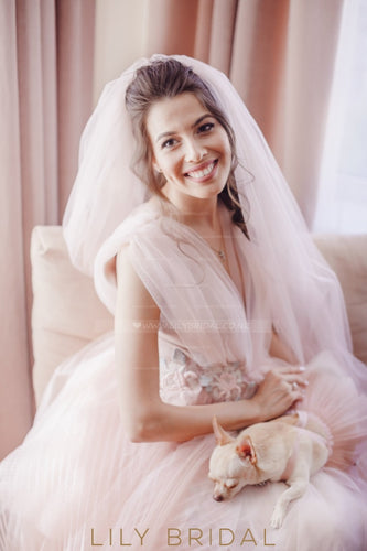 Blushing Pink Chapel Length One Layer Wedding Veil
