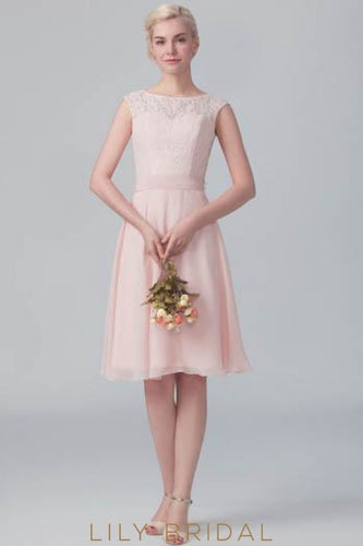 Blushing Pink Chiffon Short Bridesmaid Dress With Bateau Neck Lace Bodice
