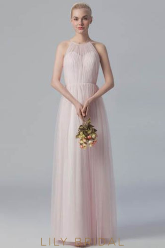Blushing Pink Jewel Neck Pleated Floor-Length Tulle Bridesmaid Dress