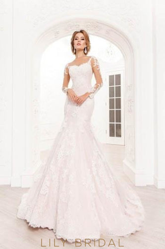 9f708af0b394 Blushing Pink Long Sleeve Lace Illusion Mermaid Wedding Dress With Court  Train