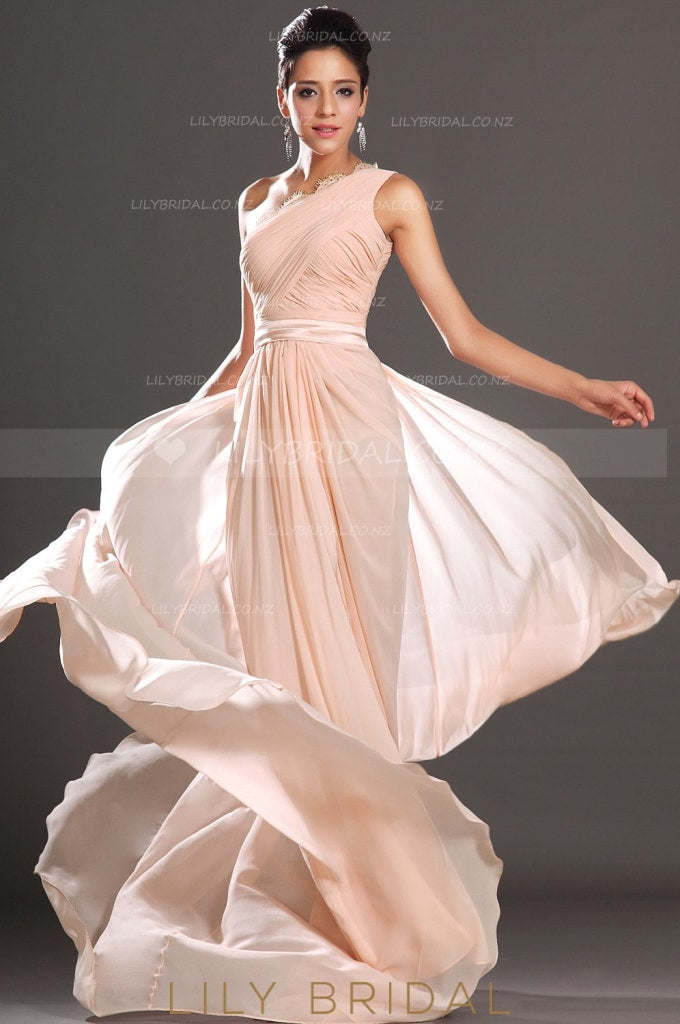 Blushing Pink One-Shoulder Ruched Chiffon Bridesmaid Dress With Scalloped Lace