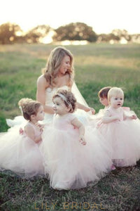 Blushing Pink Tulle Ball Gown Flower Girl Dress With Bowknot