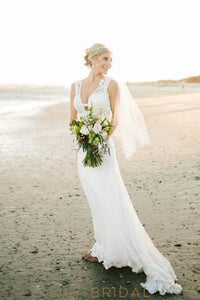 Boho Bodycon Low V-Neck Lace Illusion Wedding Dress With Sweep Train