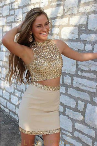 Bodycon Two-Piece High Neck Mini Rivet Prom Dress