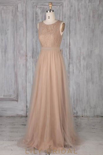Bow-knot Lace Illusion Scoop Neck Sleeveless Open Back Long Sheath Tulle Bridesmaid Dress
