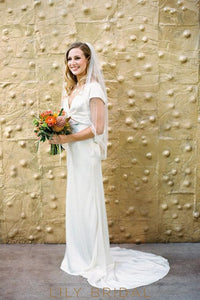 ivory A-line Satin Wedding Dress with Bowtie V-Back Plunging V-Neckline
