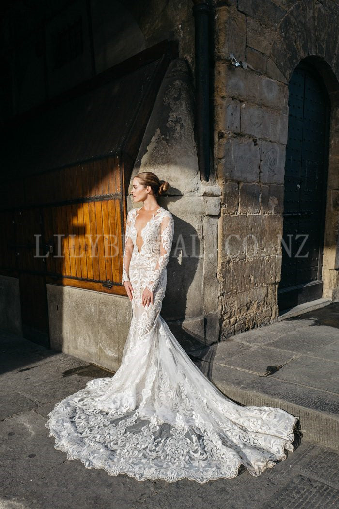 Lace Illusion Wedding Dress Scoop Neck Long Sleeves Open Back Long Bridal Dress