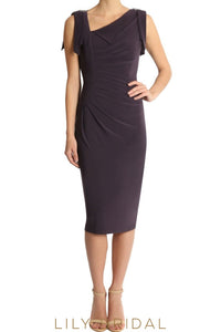 Sleeveless Sheath Jersey Knee-Length Mother of the Bride Dress