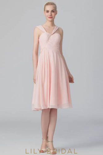 Bubblegum Chiffon Strap Short Bridesmaid Dress With Ruching