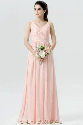 Bubblegum Chiffon V-Neck Long Bridesmaid Dress With Sash