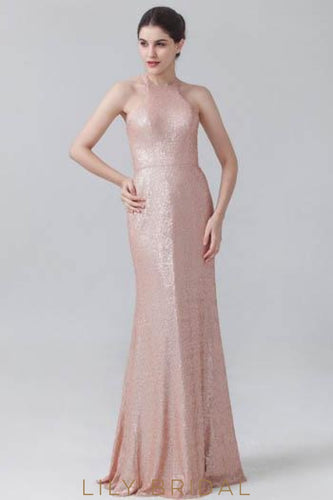Bubblegum Halter Sequin Bridesmaid Dress With Sweep Train
