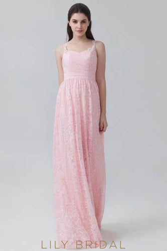 Bubblegum Lace Sweetheart Strap Floor-Length Bridesmaid Dress With Keyhole Back Detail