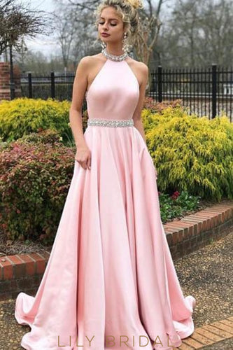 Bubblegum Open Back Halter Sweep Train Satin Prom Dress With Rhinestone