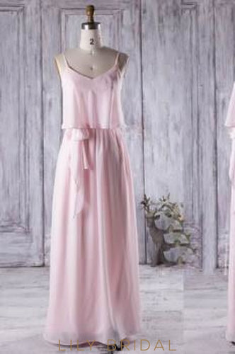 Bubblegum Strap Two-Piece Chiffon Floor-Length Bridesmaid Dress With Sash