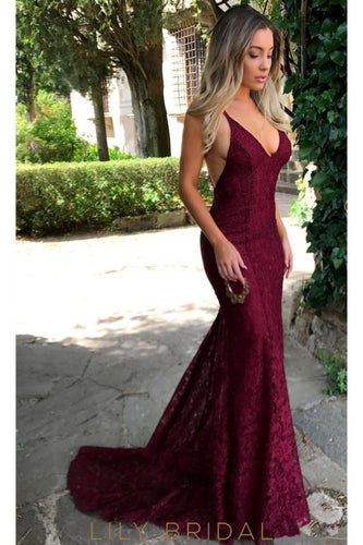 Burgundy Deep V-Neck Strap Lace Mermaid Backless Prom Dress