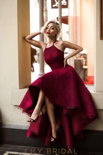 Burgundy Spaghetti Strap High-Low Lace Prom Dress