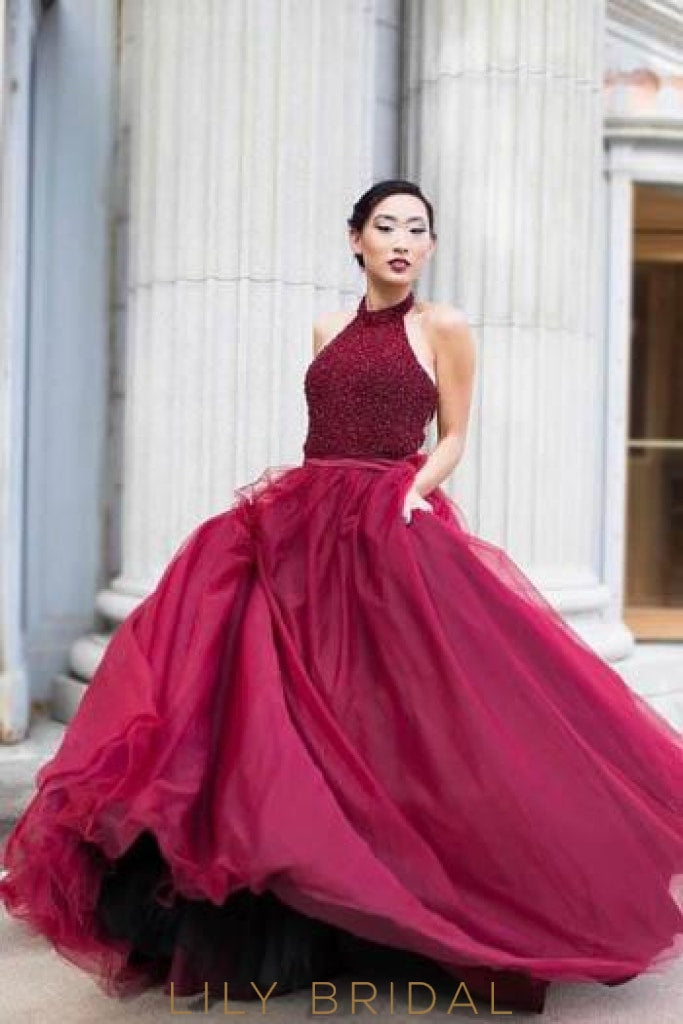 Burgundy Ball Gown Prom Dress With Beaded Bodice