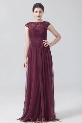 Burgundy Bateau Cap Sleeve Sweep Train Tulle Bridesmaid Dress With Lace Bodice