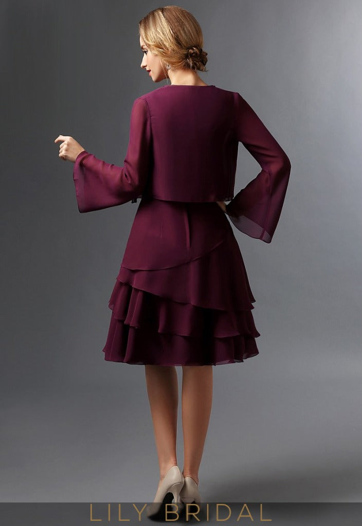 Chiffon Long Sleeves Knee-Length A-Line Mother of the Bride Dresses