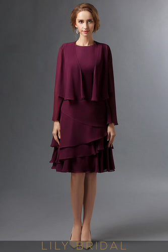 Burgundy Chiffon Long Sleeves Knee-Length A-Line Mother of the Bride Dresses