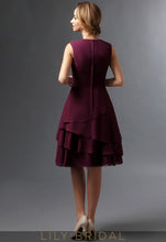 Burgundy Long Sleeves Knee-Length A-Line Mother of the Bride Dresses