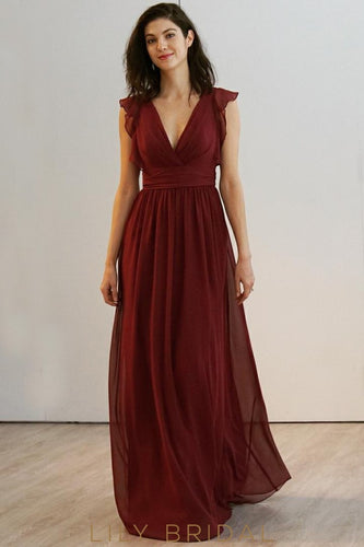 Burgundy Chiffon V-Neckline Empire Waist A-line Bridesmaid Dress