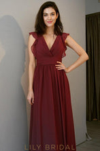 Burgundy V-Neckline Empire Waist A-line Bridesmaid Dress