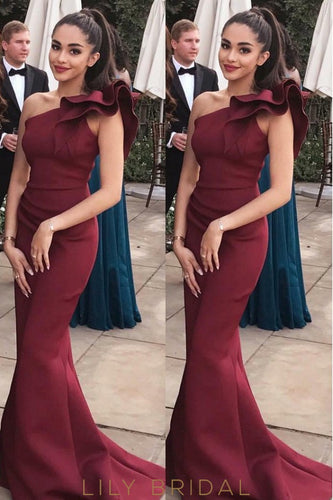 Burgundy One-Shoulder Satin Mermaid Prom Dress With Ruffles