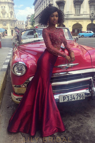 Burgundy Lace Satin Illusion Long Sleeves Trumpet Prom Dress