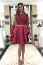 Burgundy Lace Satin Long Sleeves Bateau Neck Short Cocktail Dress
