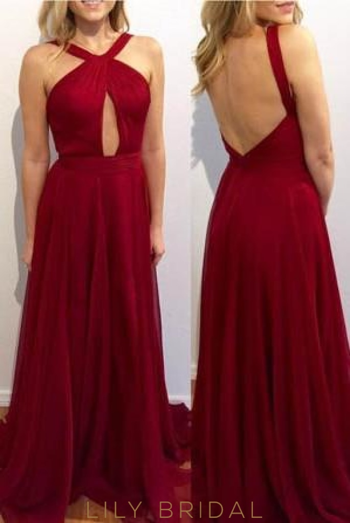 Burgundy Open Back Strap A-Line Sweep Train Chiffon Evening Dress With Keyhole