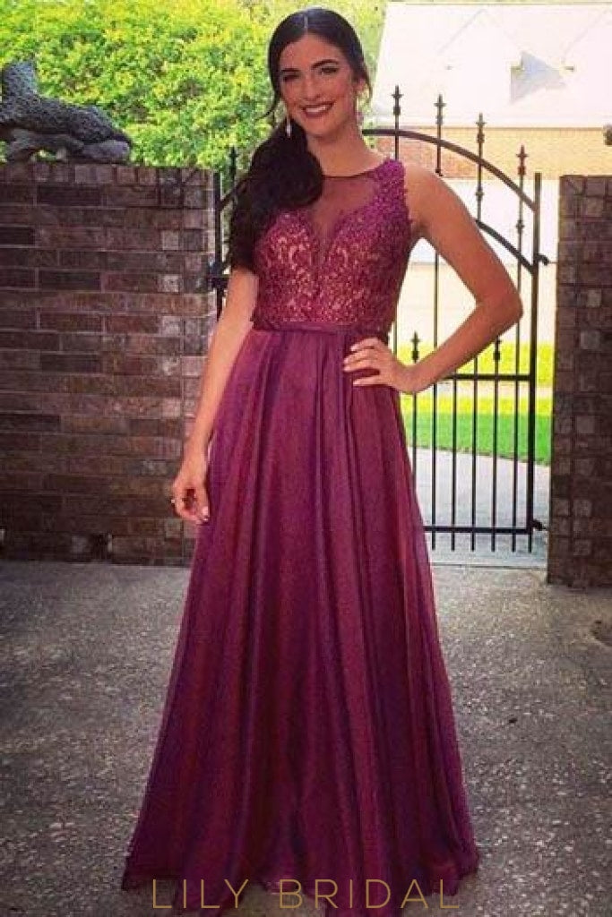 Burgundy Sheer Neck Floor-Length Evening Dress With Lace Bodice