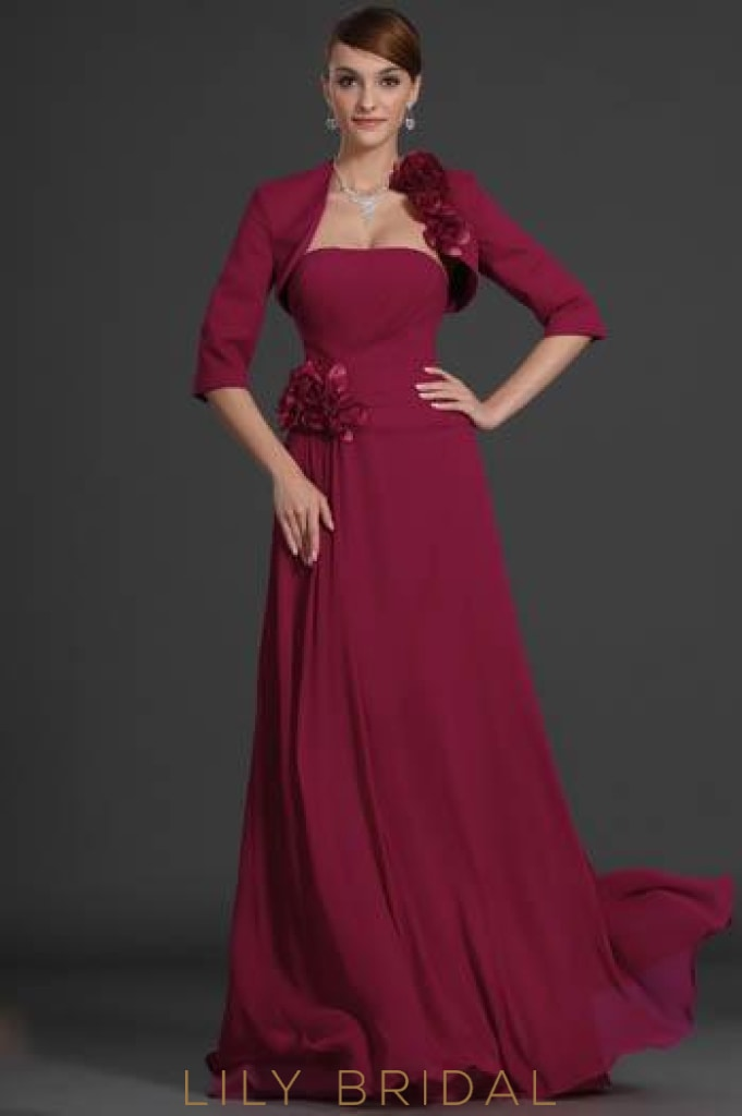 Burgundy Strapless Two-Piece Corsage Evening Dress With 1/2 Sleeve Jacket