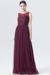 Burgundy Tulle Long Bridesmaid Dress With Lace