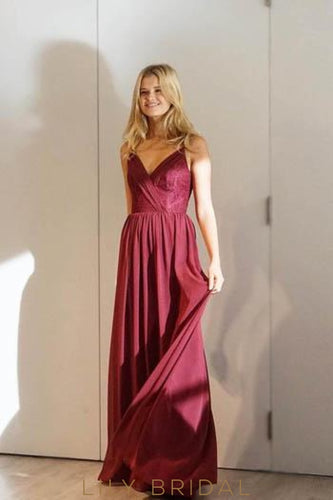 Burgundy V-Neck Spaghetti Strap Pleated Chiffon Bridesmaid Dress