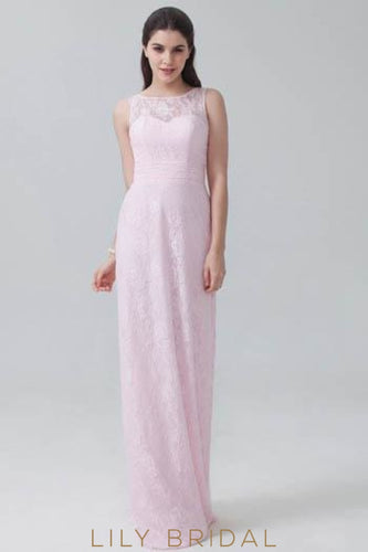 Candy Pink Bateau Sweep Train Floral Lace Bridesmaid Dress With Keyhole