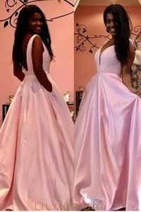 Candy Pink Open Back Low V-Neck Long Satin Prom Dress With Beaded Top