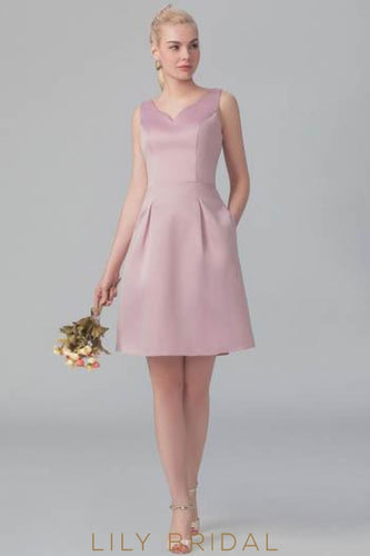 Candy Pink Satin V-Neck Short Bridesmaid Dress With Pockets