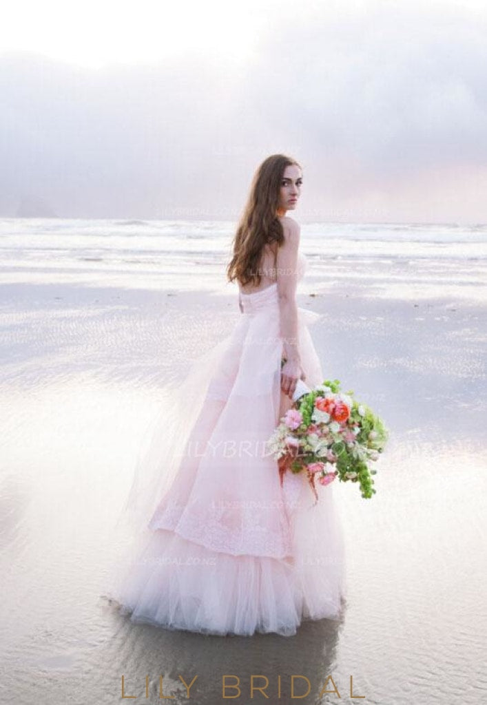 Candy Pink Tulle Backless Beach Bridal Dress With Lace