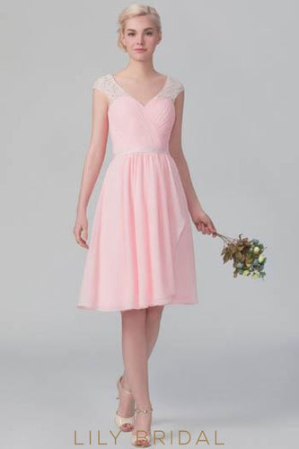 Candy Pink V-Neck Chiffon Overlap Short Bridesmaid Dress With Lace