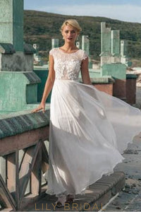 Cap Sleeve Floor-Length Chiffon Beach Wedding Dress With Illusion Lace Bodice