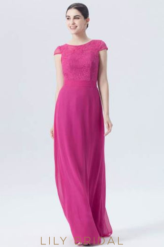 Cap Sleeve Jewel Neck Long Chiffon Bridesmaid Dress With Illusion Lace Bodice