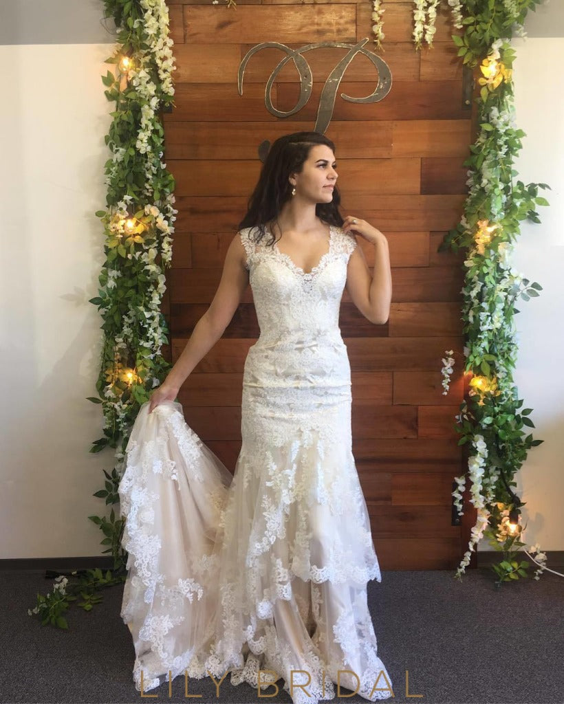 Sweetheart Wedding Dress With Cap Sleeves: Ivory Lace Cap Sleeve Sweetheart Dropped Waist Wedding