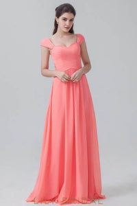 Cap Sleeve Sweetheart Sweep Train Chiffon Bridesmaid Dress With Ruched Bodice